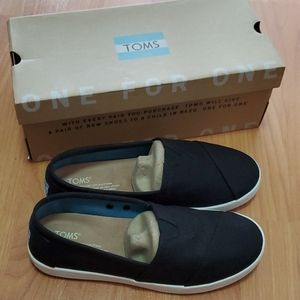 Women's Toms Avalon Black Canvas Shoes 7.5